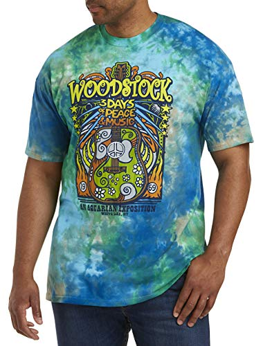 True Nation by DXL Big and Tall Woodstock Tie Dye Graphic Tee, Blue Multi, 5XLT