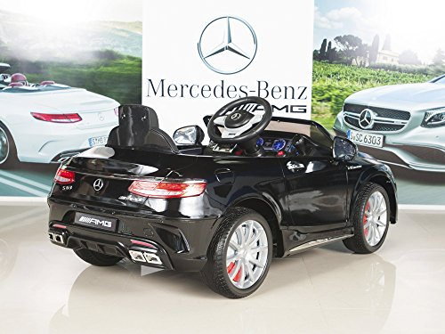 Image of the Mercedes-Benz S63 Kids 12V Electric Power Wheels Ride On Car with RC/Remote Control Radio & MP3, Black