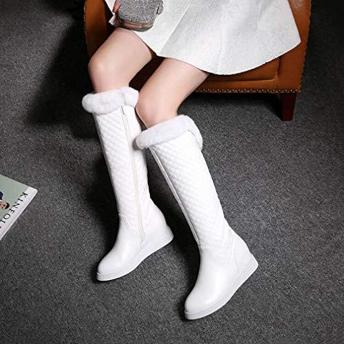 Moda Cálidas Botas Pu De Altas Esquí Invierno Mujer Punta damas ons La Cachemir Más estudiante Artificial Para Redonda Slip Nieve Invierno botas Botas Casual ZwAqFa