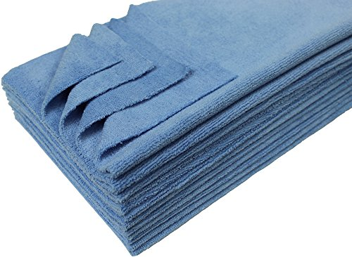 Detailer's Preference Eurow Ultrasonic Cut Maximum Absorption Premium Cleaning Towels Blue 350gsm 16 x 16 Inches 12 Pack