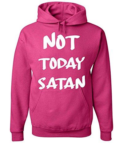 Not Today Satan Hoodie Religious Funny Jesus Religion Faith Hot Pink L