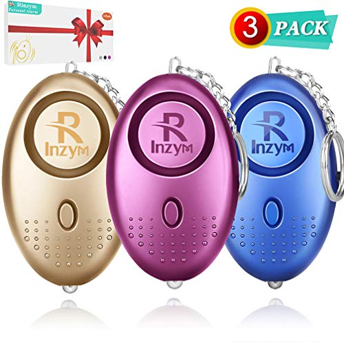 Personal Alarm, Rinzym 3 Pack【Safesound】Security Alarms Keychain For Women with LED Flashlight, Reusable Police Approved 140DB LOUD, Small Personal Safety Alarm for Women Girls Kids and Elderly