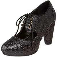 Bordello by Pleaser Women's Grind-03 Oxford,Black Glitter,7 M US