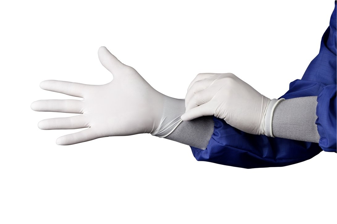 HandPRO 1704 Hourglass 1700 Series Nitrile Ambidextrous Controlled Environment Glove, Beaded Cuff, Powder Free, 240 mm Length, 0.1 mm Thick, X-Large, White (Pack of 1000)