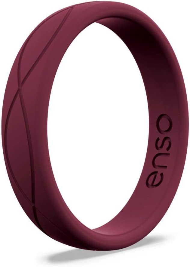 Comfortable Band for Active Lifestyle Oxblood, 6 4.5mm Wide Hypoallergenic Wedding Band for Ladies 1.5mm Thick Enso Rings Women/'s Infinity Silicone Wedding Ring