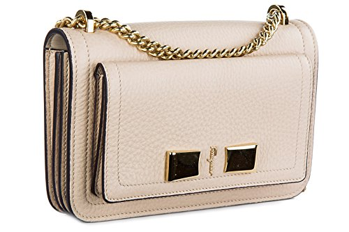 Salvatore Ferragamo borsa donna a spalla shopping in pelle nuova ginevra beige