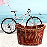 foreverwen Large Handmade Willow Bicycle Basket for Pet Diamondback Wicker Front Handlebar Bike Basket