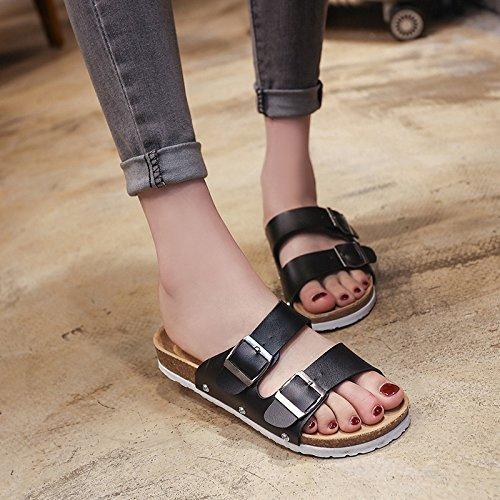 Salvaje Verano chanclas Corcho mujer y Playa Antideslizante white WHLShoes para Confort Moda Sandalias De Casual Zapatillas w1E8T6Tq