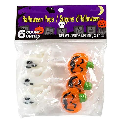 Ghost Lollipops Halloween (Greenbrier (1) Bag Halloween Shaped Pops - Orange Pumpkin & White Ghost Shaped Hard Candy - 6 Individually Wrapped Lollipops per Bag - Net Wt. 3.17)