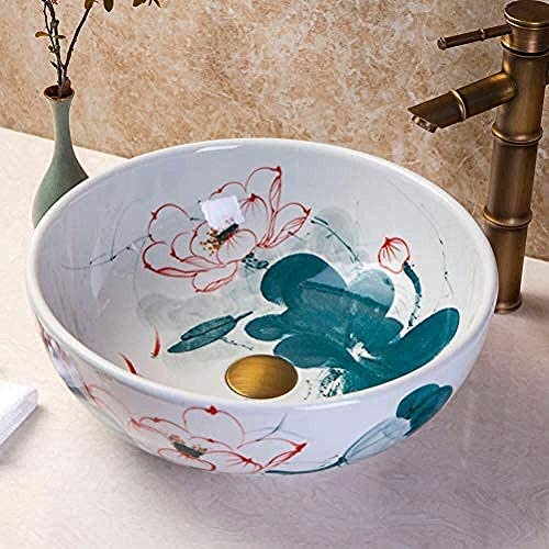 セラミックラウンド手描きミニステージ洗面浴室バルコニーアート盆地35CM洗面バスルームのシンク