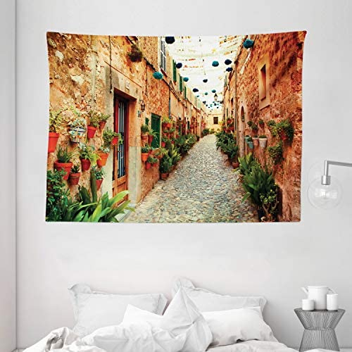 Ambesonne European Tapestry, Spanish Alley with Rock Houses and Plants Latin Tourism Scene Mediterranean Print, Wide Wall Hanging for Bedroom Living Room Dorm, 80 X 60 , Cream Green