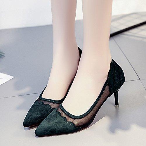 RUGAI-UE Verano superficial señaló Zapatos de Tacón cómodos zapatos de mujer Green
