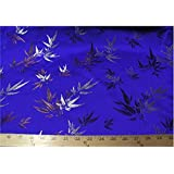 Chinese Faux Silk Bamboo Brocade Satin Fabric Sold By The Yard (Royal Blue)