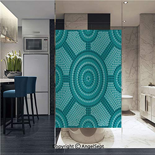 Non-Adhesive Privacy Window Film Abstract Aboriginal Dot Painting Ancient Native Ethnic Cultural Art in Australia Door Sticker Glass Film 22.8 in. by 35.4in. (58cm by 90cm),Teal