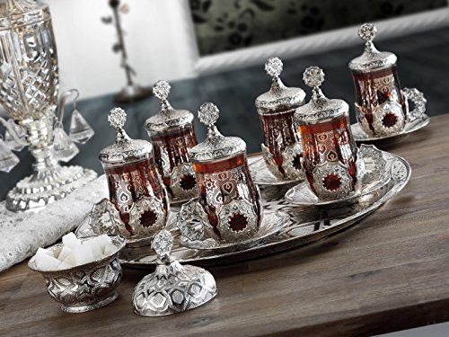 HIGH END Silver plated - EPHESIAN - METAL Authentic Tea Serving Set for 6 - Made in Turkey - 27 pieced set including Tray, Silver (Serving Turkish Tray)