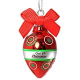 Ganz Personalized Mini Red Light Bulb Christmas Ornament; Our 1st Christmas