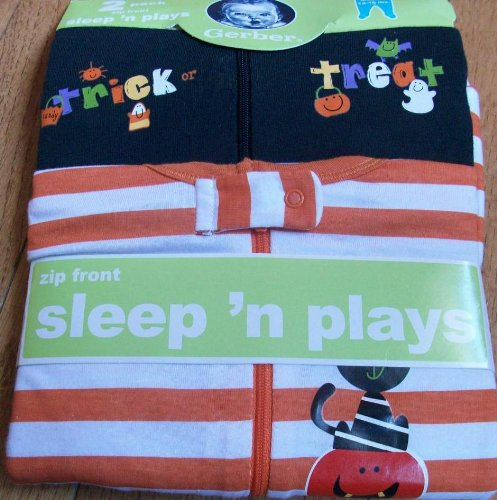 Gerber Trick or Treat Sleep N Plays Zip Front 2 Pack 3-6 months