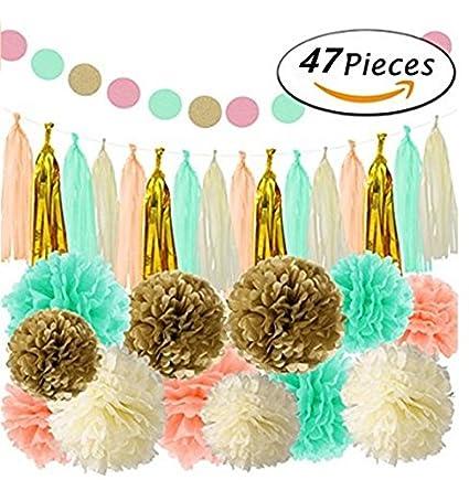 Amazon Com Asibt 47pcs Party Decoration Favors Tissue Paper Pom Pom