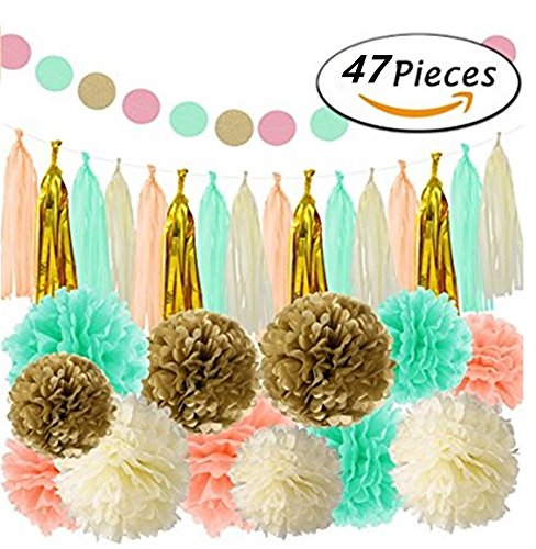 ASIBT 47Pcs Party Decoration Favors Tissue Paper Pom Pom, Tassel Garland Decor Set For Baby Showers, First Birthday Decorations, Gender Neutral Party, Summer & Spring Theme Parties (Mint Gold) -