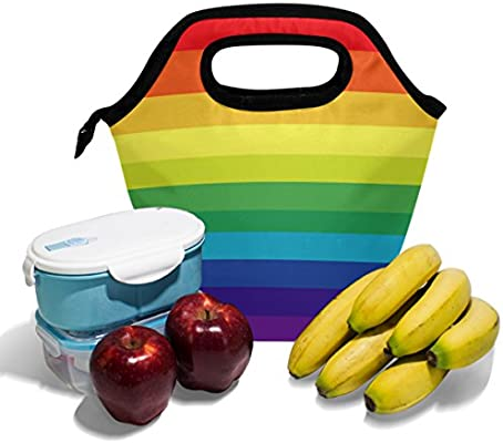 eab35150b7 Amazon.com  ALAZA Striped Multicolored Rainbow Lunch Box Tote ...