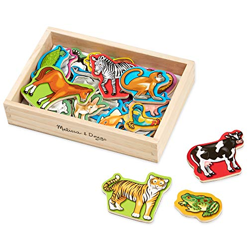 "Melissa & Doug Wooden Animal Magnets (Developmental Toys, Wooden Storage Case, 20 Animal-Inspired Magnets, 8"" H x 5.5"" W x 2"", Great Gift for Girls and Boys - Best for 2, 3, and 4 Year Olds)"