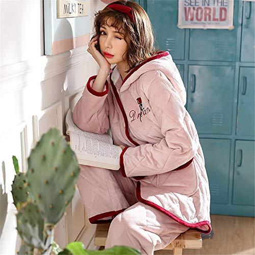 A Xxl Coral Pantalones Invierno 2 De Domicilio Encaje Baijuxing Grueso Femenino Franela Estilo Dormir Cálida Piezas Conjunto E Pijamas Servicio Otoño Princesa Ivx1wB