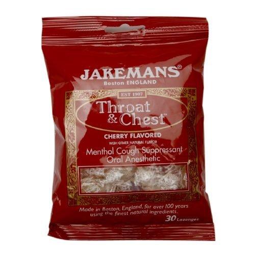 Jakeman's Throat & Chest Menthol Cough Suppressant – Cherry - 30 Lozenges (3 Pack)