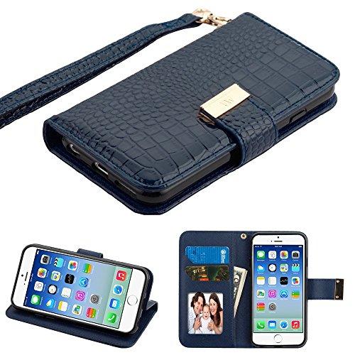 (PU Leather Purse Clutch Wallet Case Fits Apple iPhone 6/6S MYBAT Crocodile-Embossed MyJacket Black Blue)