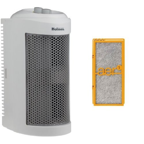 Holmes True HEPA Allergen Remover Mini Tower Air Purifier with Smoke Grabber Filter
