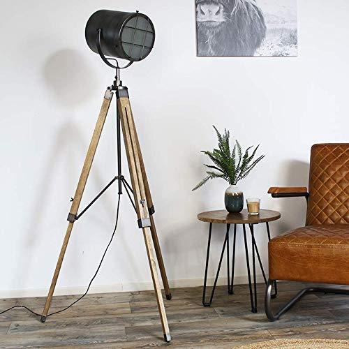 L/ámpara de pie de madera y metal dise/ño industrial color gris tr/ípode