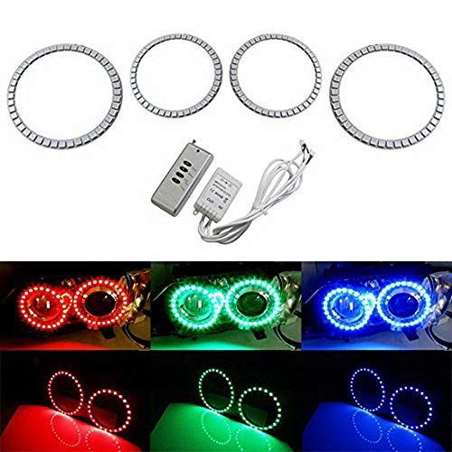 iJDMTOY Multi-Color 180-SMD RGB LED Angel Eyes Halo Ring Lighting Kit w/Remote Control for 2007-2011 BMW E92 E93 328i 335i M3 Coupe or ()