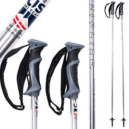 Zipline Ski Poles Carbon Composite Graphite Chrome - U.S. Ski Team Official Ski Pole - New Chrome Finish - 3 Colors Options (Silver Bullet Chrome, 44