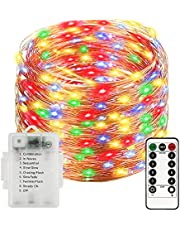 Sunfuny Led Fairy String Lights, 66ft 200 Leds Battery Operated Copper Wire Lights with Remote Control,Ip67 Waterproof for Indoor and Outdoor Decor,Multicolor,Halloween Gift