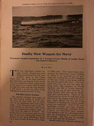 - 1906 Bliss-Leavitt Turbine Torpedo Military Naval Weapons Illustrated