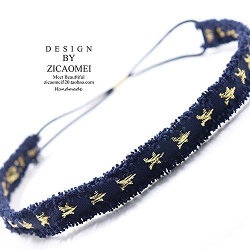 (korea spring summer burlap cowboy pentacle star embroidered fine hair band hair bands hair accessories models)