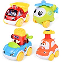 4PCs Kids Car Toys, Toddler Toys with Pull Back Car Construction Vehicles, Helicopter, Push and Go Friction Powered Animal Car Toy, Press and Go Car