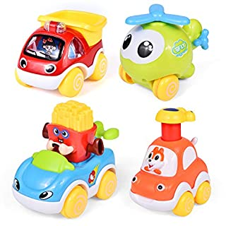 Toddler Car Toys Set with Pull Back Car & Push and Go Car, Baby Toy Cars for 1 Year Old Boy Toddler Birthday Gift