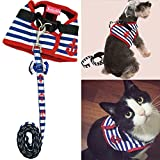 Bro'Bear Adorable Soft Velcro Cat Dog Safety Walking Mesh Sailor Vest Harness + Matching Lead Leash Set(Can Be Pet & Kitty & Puppy Car Vehicle Seat Harness Halloween Classics Collection Costume Photo Apparel Holiday Wear Clothes Party Coat) (Large(4#))