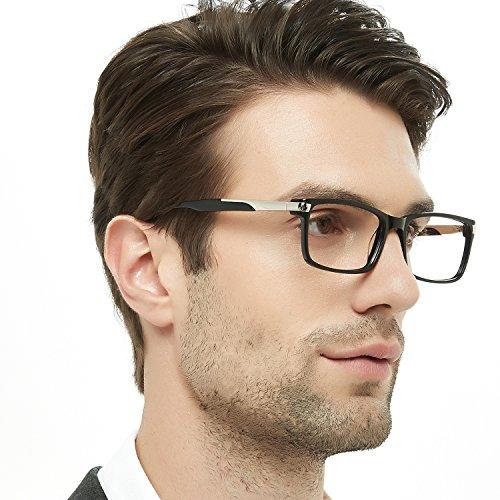 Eyeglasses 138 - OCCI CHIARI Lightweight Designer Acetate Frame Rectangular Stylish With Spring Hinge For Men (Black,54)