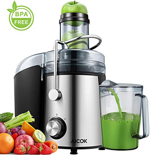 Juicer Aicok Juicer Machines Ultra 1000W Power, 75MM Wide Mouth Juice Extractor Centrifugal Juicer Easy to Clean, 2 Speed Fruit Juicer for Whole Fruit and Vegetables, Non-Slip Feet, Stainless Steel