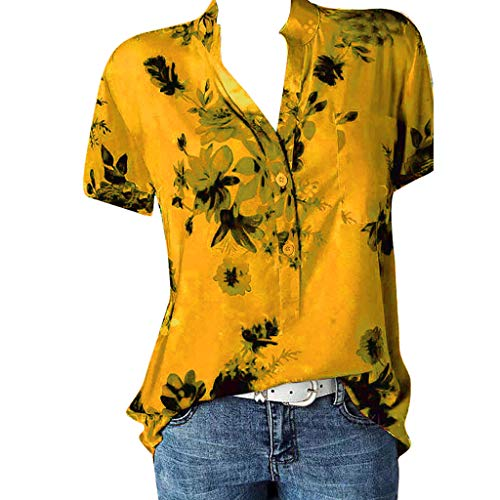 Women Blouse Shirts with Flowers Hosamtel Plus Size Floral Print V-Neck Button Pocket Short Sleeve Summer Elegant Casual Tops