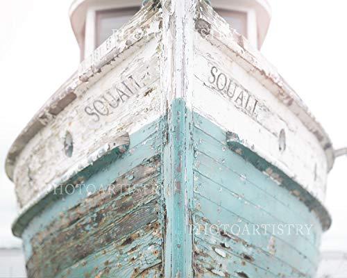 Cottage Wall Decor - Nautical Ship, Beachy, Beach Print, Cottage Decor, Sea, Rustic Wall Art, Teal Fixer Upper, Bathroom, 11x14 Print