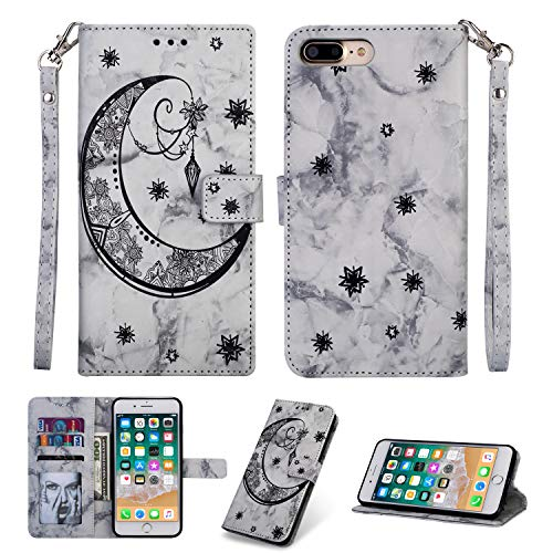 Yobby iPhone 7 Plus Wallet Case,iPhone 8 Plus Black Case Embossed Marble Moon Pattern Slim PU Leather Flip Stand Cover [Magnetic Closure] with Card Holder Slot Wrist Strap Protective Shell (Best Card Collecting Games Iphone)
