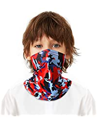 Kids Neck Gaiter, Kids Face Coverings Scarf Bandana Cover for Boys Girls Summer Stylish Washable Headgear Infinity Scarf
