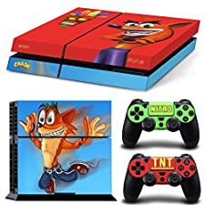 Ps4 Playstation 4 Console Skin Decal Sticker Crash Bandicoot + 2 Controller Skins Set