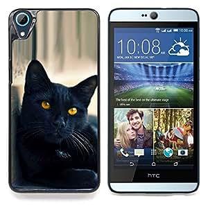 """Gato Negro Amarillo Ojos Nebelung"""" - Metal de aluminio y de plástico duro Caja del teléfono - Negro - HTC Desire 626 626w 626d 626g 626G dual sim"""