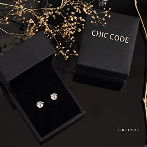 ''STUNNING FLAME'' 18K Gold Plated Silver Brilliant Cut Simulated Diamond CZ Stud Earrings (white-gold-plated-sterling-silver, 1.5) by Chic Code (Image #6)
