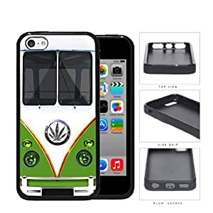 linJUN FENGHippy Mini Van Series V1 Hard Rubber Cell Phone Case Cover iPhone 5c (green weed)