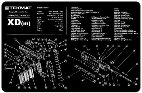 Tekmat Springfield Armory Xd M  Cleaning Mat 11 X 17 Thick  Durable  Waterproof Handgun Cleaning Mat With Parts Diagram And Instructions Armorers Bench Mat Black