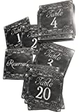Tent Table Number Cards, Printed on Text, Table 1-20. Chalk, text,